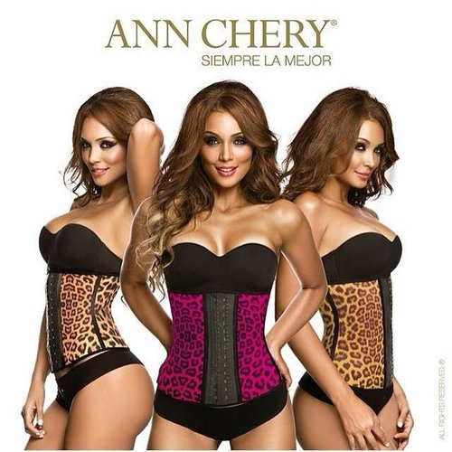 Ann Chery Waist Trainer Animalprint latex 2 hooks - short torso