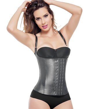 Ann Michell Latex Semi Vest 3 Hooks Zwart