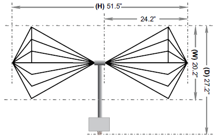 Drawing of AB-900 Biconical Antenna