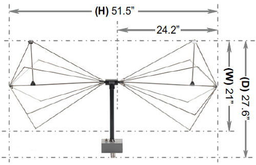 Technical Drawing ABF-900 Biconical Dipole Antenna