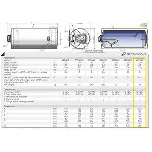 ELDOM Favourite Elektrische Boiler 200L, horizontaal, 3kW, emaille, aansluiting links