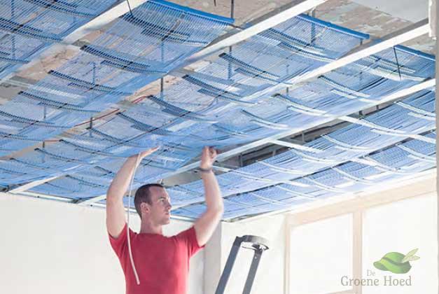 Klimaat matten vppr vermwarming of koeling in een systeem plafond