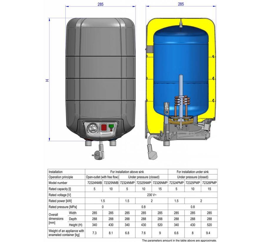 Keukenboiler, 10 liter, 2 kW, voor boven het aanrecht