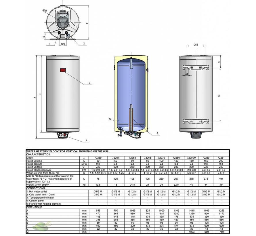 Verticale elektrische boiler 150L, 3kW, emaille