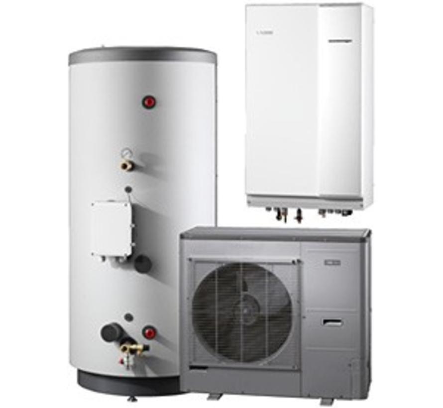 Systeem 3 lucht/water warmtepomp, HBS 11-12 hydrobox met HEV 500 boiler en AMS 10-12 buitenunit