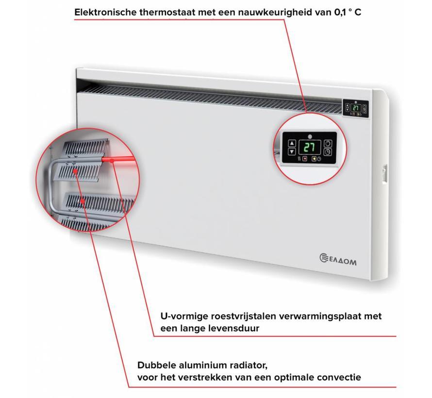 2,5 kW elektrische wandconvector met digitale bediening en thermostaat