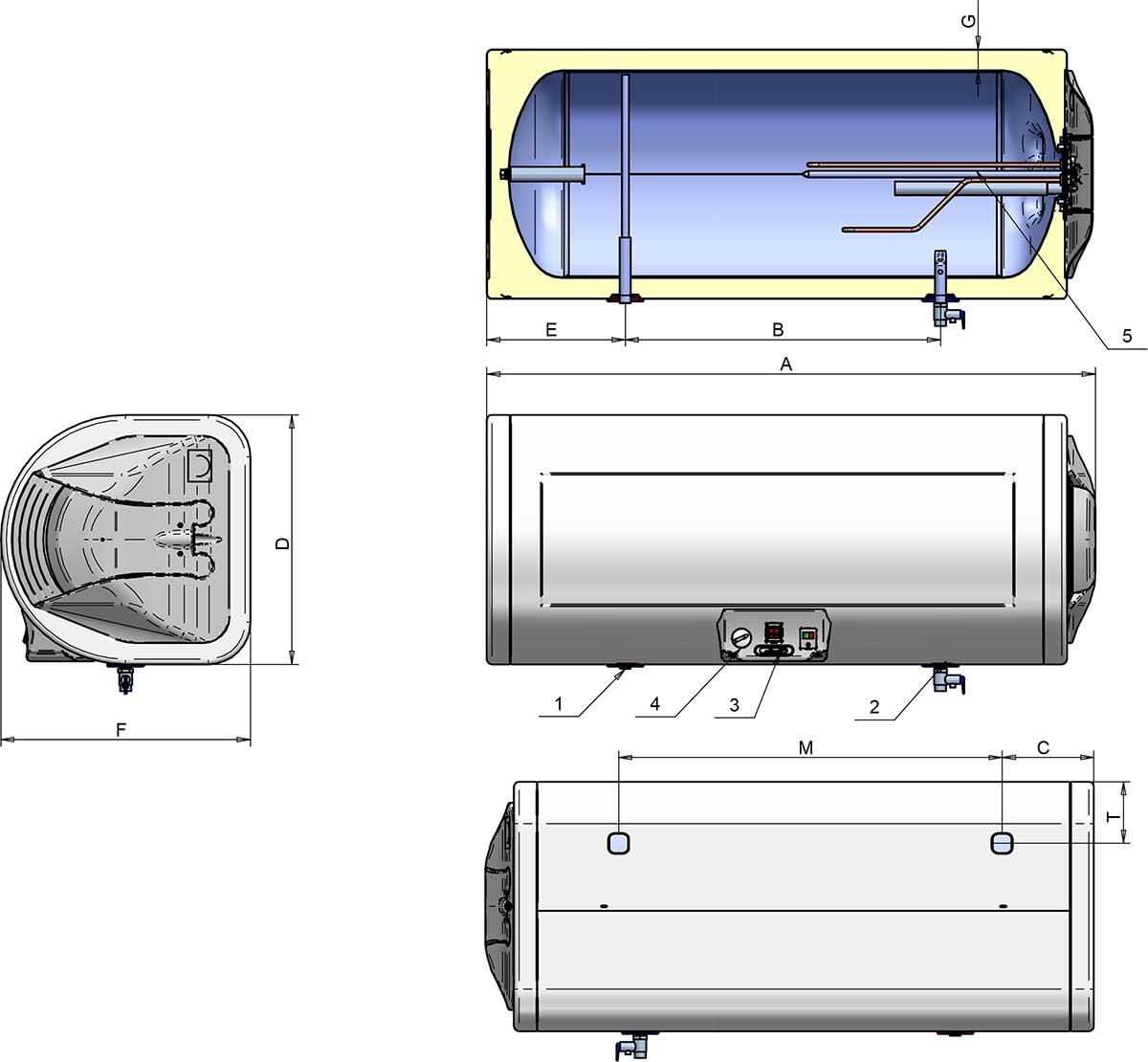 Doorsnede horizontale zuinige boiler