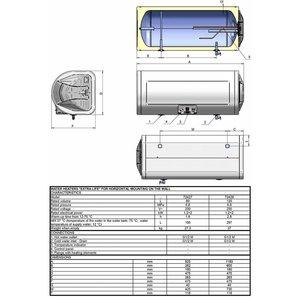 ELDOM Extra Life Horizontale elektrische boiler 80L, energiezuinige Extra Life, 3,2 kW, emaille
