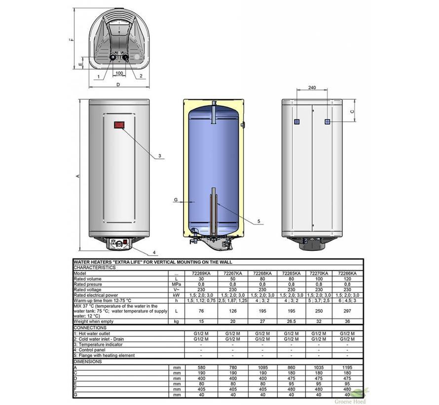 Verticale elektrische boiler 120L, Extra Life, 3 kW, emaille