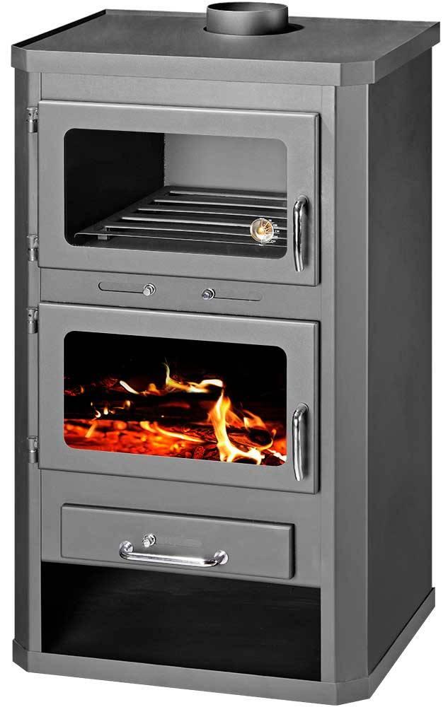 Lotos Max FT, vrijstaande CV Houtkachel met oven, 19 kW - Groene ...