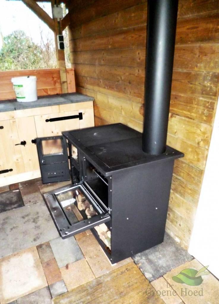 metalurguia houtkachel met oven en fornuis 9 kw de groene hoed duurzaam. Black Bedroom Furniture Sets. Home Design Ideas