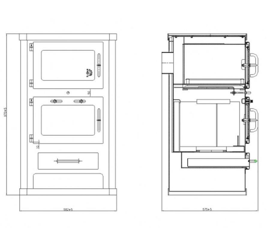 Comfort KF, Houtkachel met oven (10 kW)