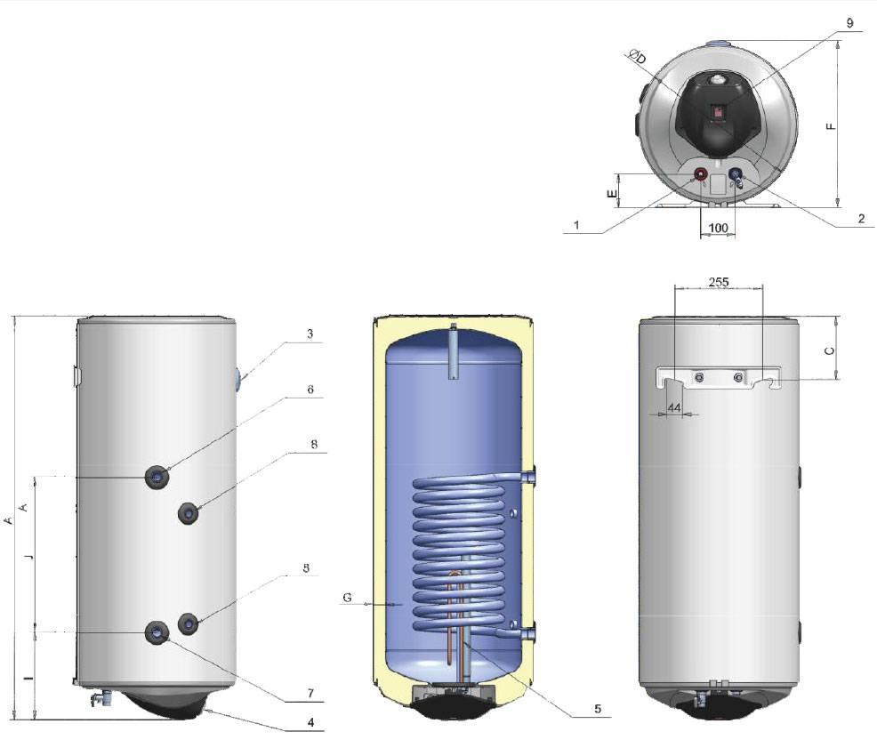 Elektrische boiler 80L met warmtewisselaar en digitale bediening ...
