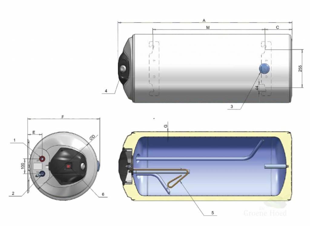 horizontale elektrische boiler van 50 liter