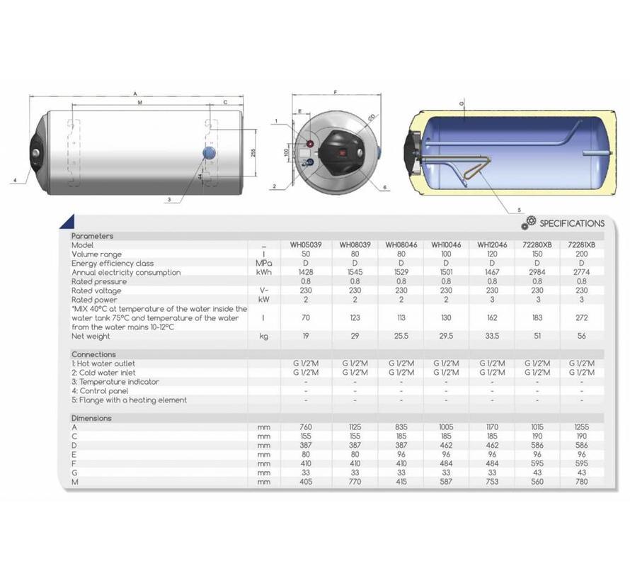 Elektrische Boiler 50L, horizontaal, 2kW, emaille, aansluiting links of rechts