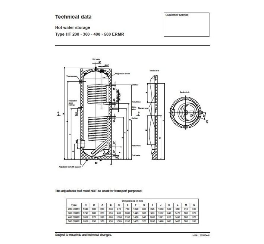 HT 200 ERMR, 200 liter buffervat met warmtewisselaar