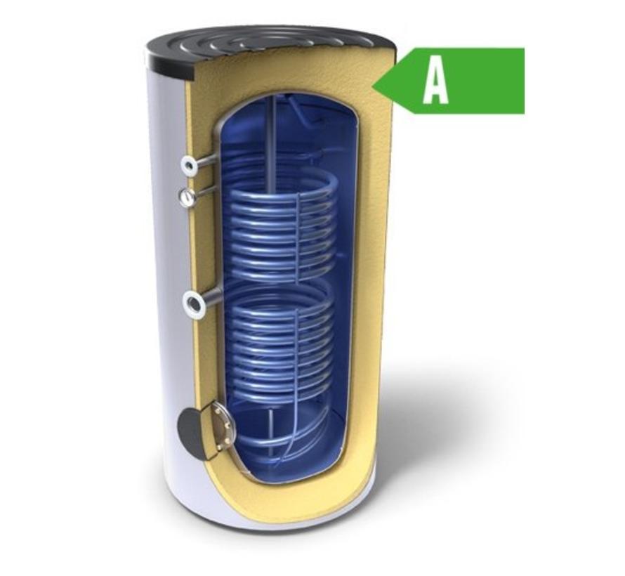 Buffertank 200 liter,  A label, met dubbele warmtewisselaar