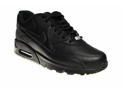 "Nike Air Max 90 Leather ""All Black"" 302519 001 Sneakers"