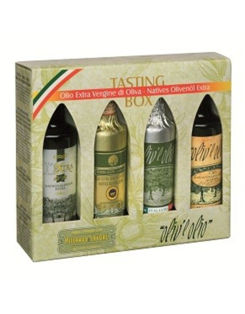 Merano Natives Olivenöl extra - Tasting-Box 4x100 ml.