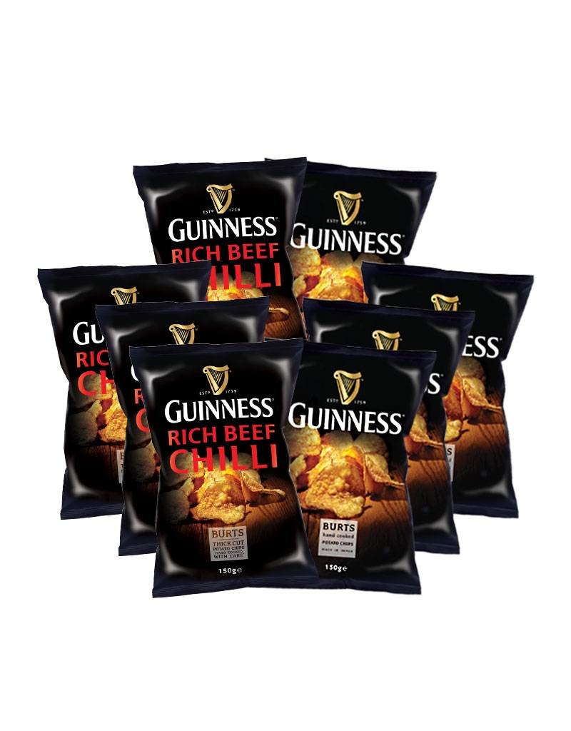 """BURTS 4x Guinness Chips """"GUINNESS FLAVOUR"""" 150g + 4 x Guinness Chips """"RICH CHILLI"""" 150g"""
