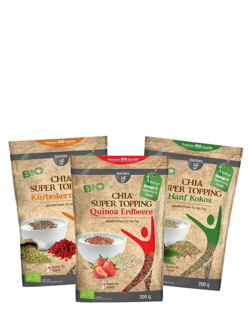 bff borchers borchers Probierpaket Bio Chia Super Topping, 1x Quinoa Erdbeere 200g, 1x Kürbiskern Goji 200g, 1x Hanf Kokos 200g
