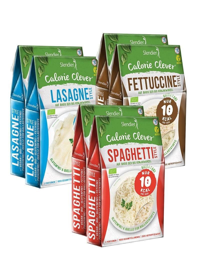 Slendier Shirataki Italia Probierpaket: 2 x Spaghetti-Style 250g, 2 x Fettuccine-Style 250g, 2 x Lasagne-Style 250g