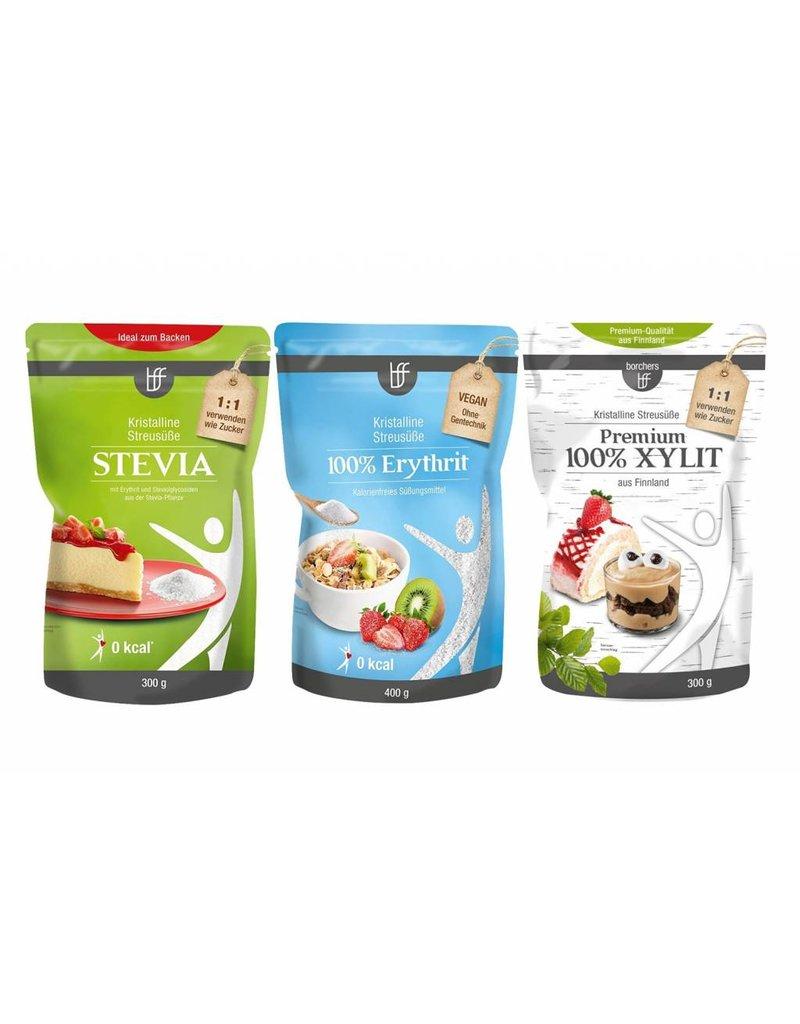 bff borchers borchers bff Probierpaket Kristall: 1x Stevia 300g, 1x Erythrit 400g, 1x Xylit 300g