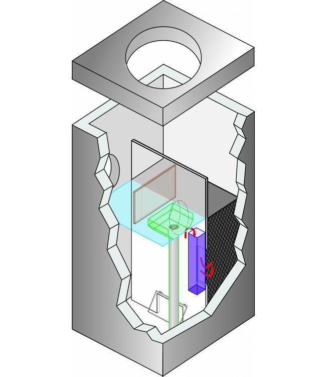 ACO Lamellenafscheider Crossflow 25 mit Durchflussbegrenzer, Kapazität 25 l / s, max. Fläche 17857m2