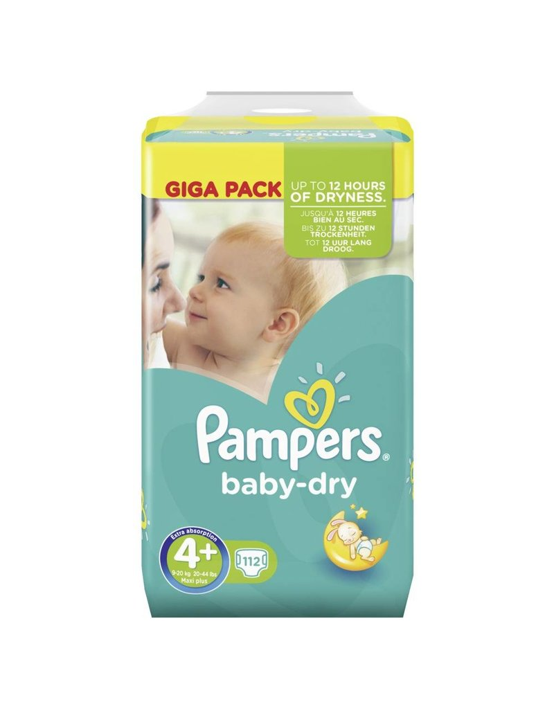 pampers baby dry taille 4 maxi plus 9 20kg giga pack 112. Black Bedroom Furniture Sets. Home Design Ideas