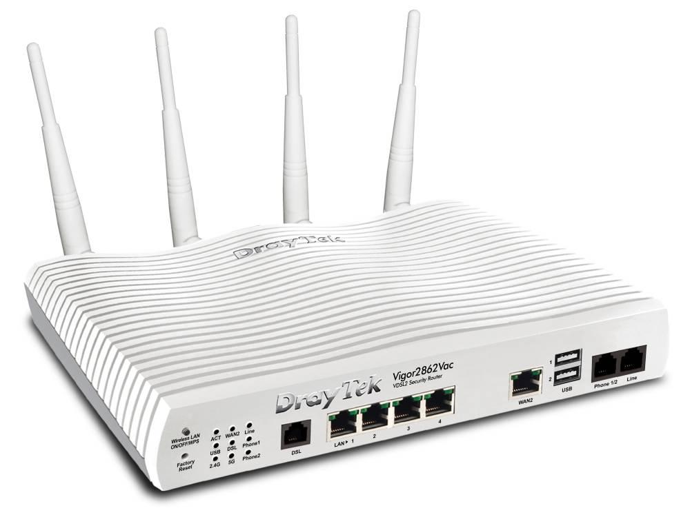 DrayTek Vigor 2862Vac VDSL2/ADSL2/2+ Modem/router annex A, 2FXS ports & AC Wave 2