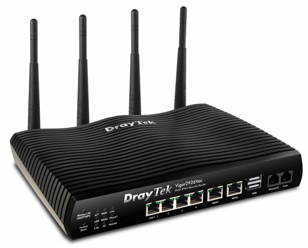 DrayTek Vigor 2926Vac Dual Gigabit WAN breedband router 5 Gigabit LAN, 2 FXS, 802.11ac