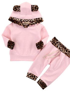 2 piece leopard set light pink