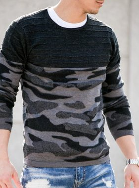 Camouflage sweater gray black