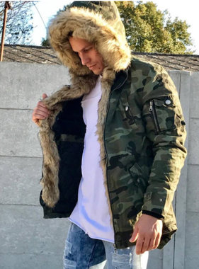 Army coat with fur