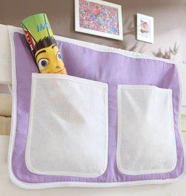 Bedtas voor (half)hoogslapers en stapelbedden - paars-beige