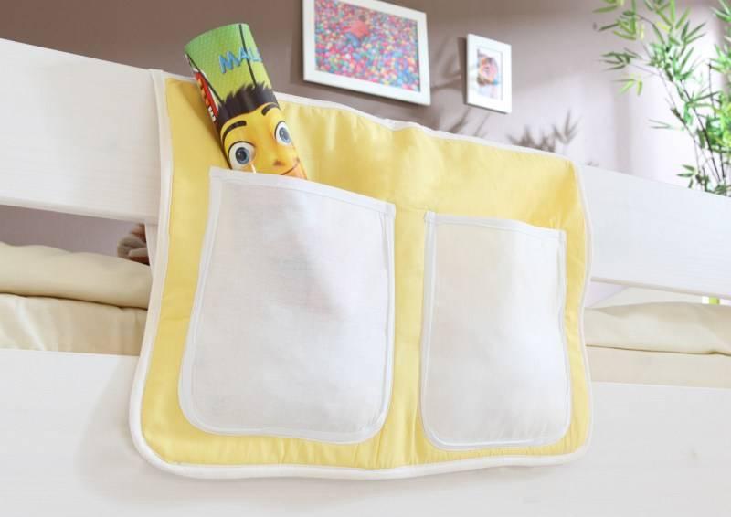 Bedtas voor (half)hoogslapers en stapelbedden - geel-wit