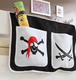 Bedtas voor (half)hoogslapers en stapelbedden - Piraat - zwart-wit