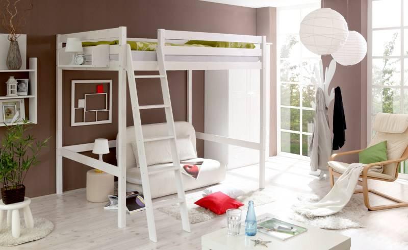 hoogslaper dubbelbed matthias 140 wit gelakt grenen. Black Bedroom Furniture Sets. Home Design Ideas