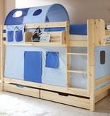 Stapelbed Marcel - grenen - blank gelakt - lichtblauw-donkerblauw - zonder tunnel