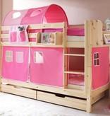 Stapelbed Marcel - grenen - blank gelakt - roze-pink - zonder tunnel