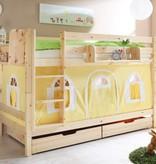 Stapelbed Marcel - grenen - blank gelakt - geel-wit - zonder tunnel
