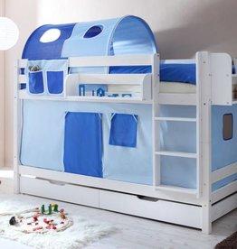 Stapelbed Marcel - grenen - wit gelakt - lichtblauw-donkerblauw