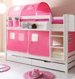 Stapelbed Marcel - grenen - wit gelakt - roze-pink