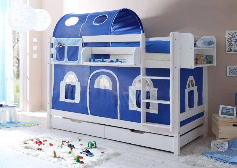 Stapelbed marcel grenen wit gelakt blauw wit - Tenda per letto a castello ...