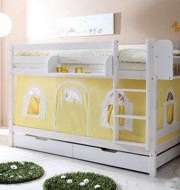Stapelbed Marcel - grenen - wit gelakt - geel-wit