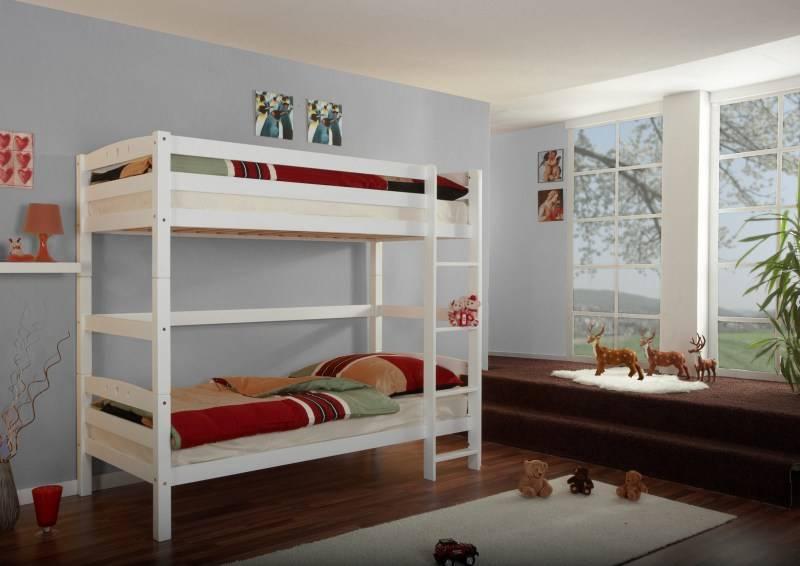 Stapelbed oliver beuken wit gelakt extra hoog goedkoopste kinderbedden - Stapelbed kleine kamer ...