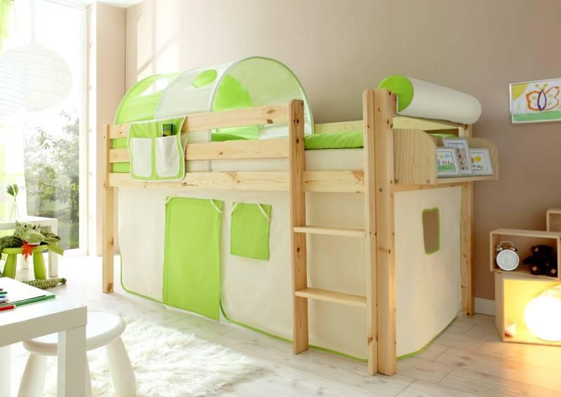 Halfhoogslaper Malte - massief grenen - blank gelakt - kleur beige-groen - zonder tunnel