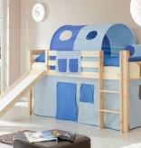 Halfhoogslaper met glijbaan Manuel - massief grenen - blank gelakt - kleur lichtblauw-donkerblauw - zonder tunnel
