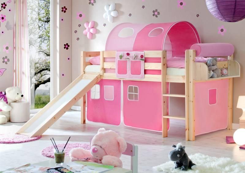 Halfhoogslaper met glijbaan Manuel - massief grenen - blank gelakt - kleur roze-pink - zonder tunnel