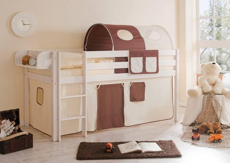 Halfhoogslaper Malte - massief grenen - wit gelakt - kleur beige-bruin - zonder tunnel